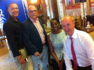 Clive LewisMP, Costas Douzinas, Kate Osamor, Gavin Davies in Gk Parliament