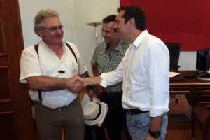 Themis Kotsifakis OLME leader meets Tsipras July 2013