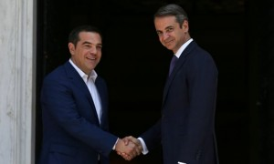 New PM Mitsotakis ND with Tsipras outgoing PM