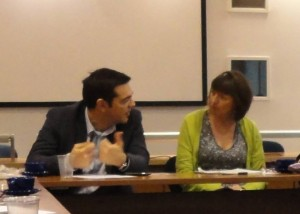 Alexis Tsipras and Frances O'Grady