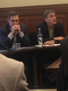 parliamentary briefing Paul Mason and Greek Economics Minister Euclid Tsakalotos